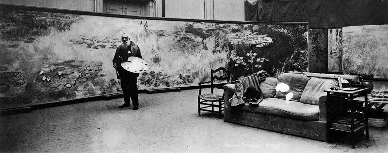 Photo of Claude Monet Working on Water Lilies