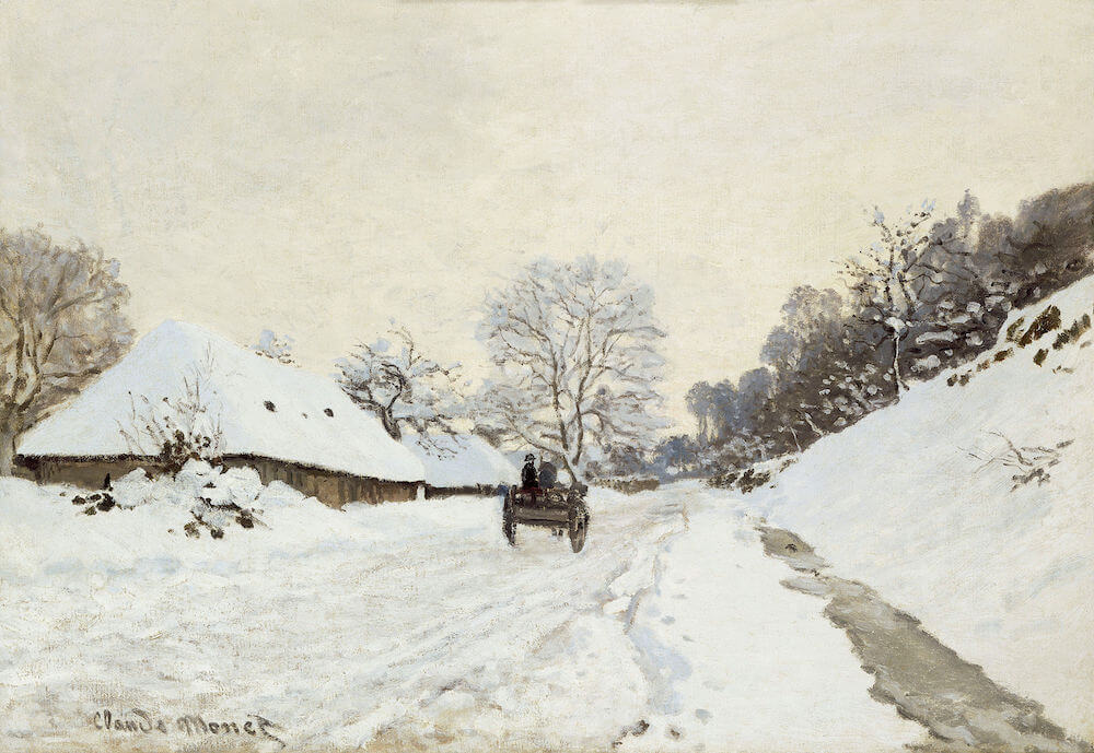 A Cart on the Snowy Road at Honfleur, 1865 - by Claude Monet