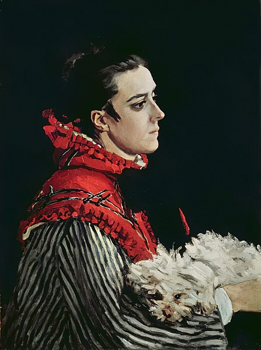 Camille Monet in a Red Cape - by Claude Monet