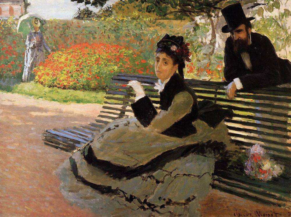 Camille Monet on a Garden Bench, 1873, by Claude Monet