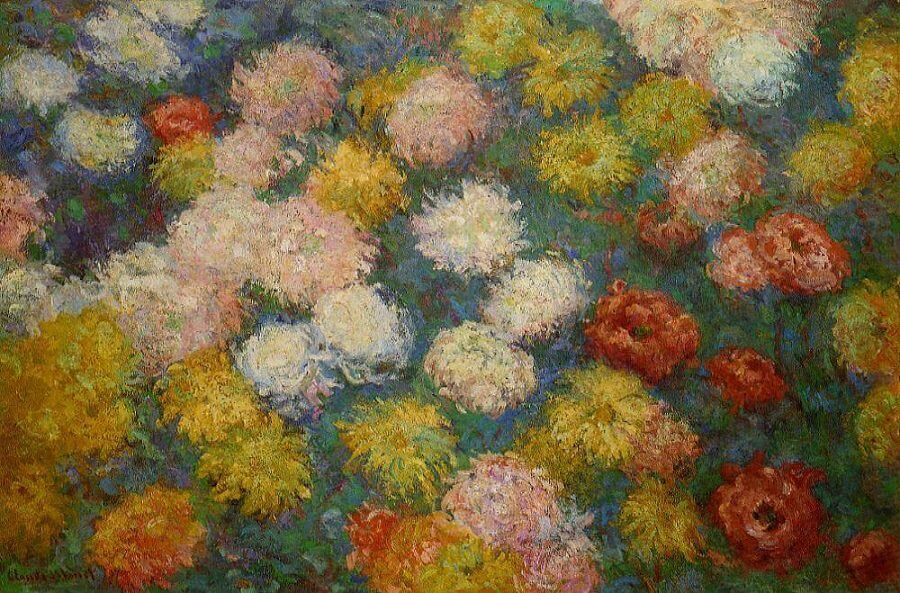 Chrysanthemums - by Claude Monet