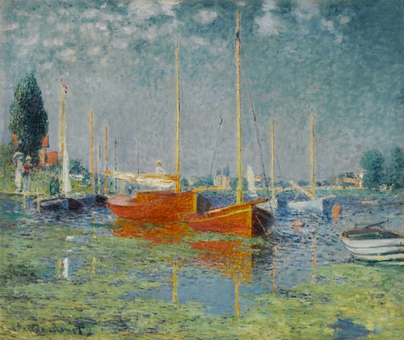 Red Boats at Argenteuil,1875 - by Claude Monet