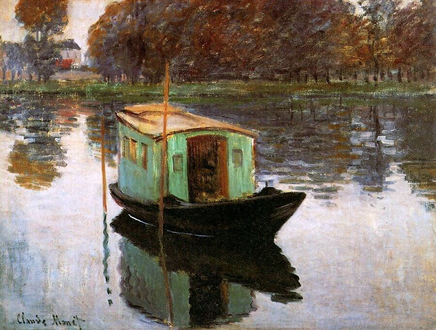 The Studio Boat, 1874, by Claude Monet